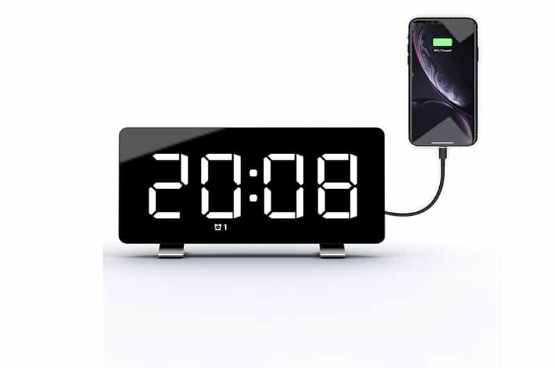 Black digital alarm clock