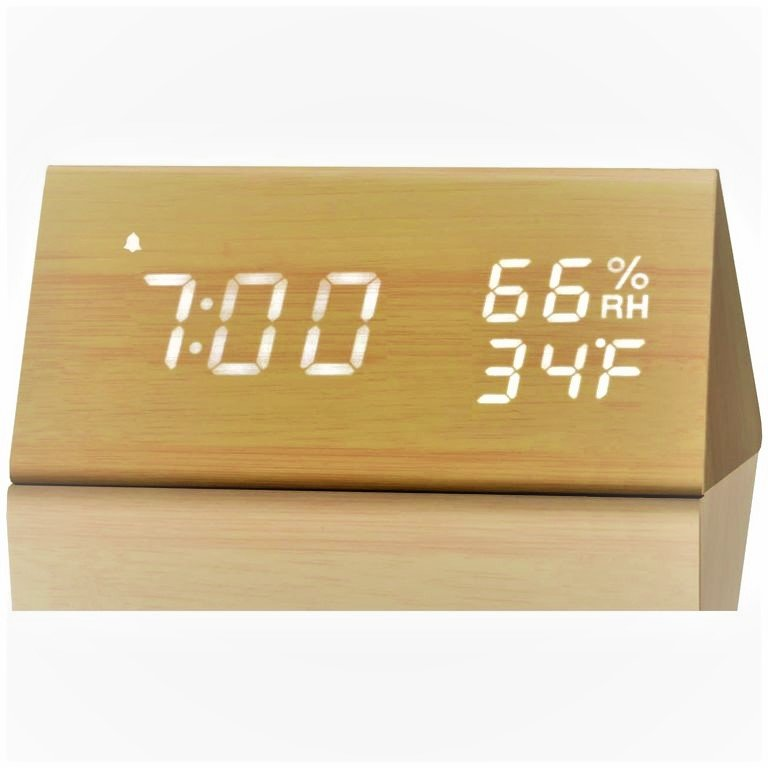 Wooden digital bedroom alarm clock