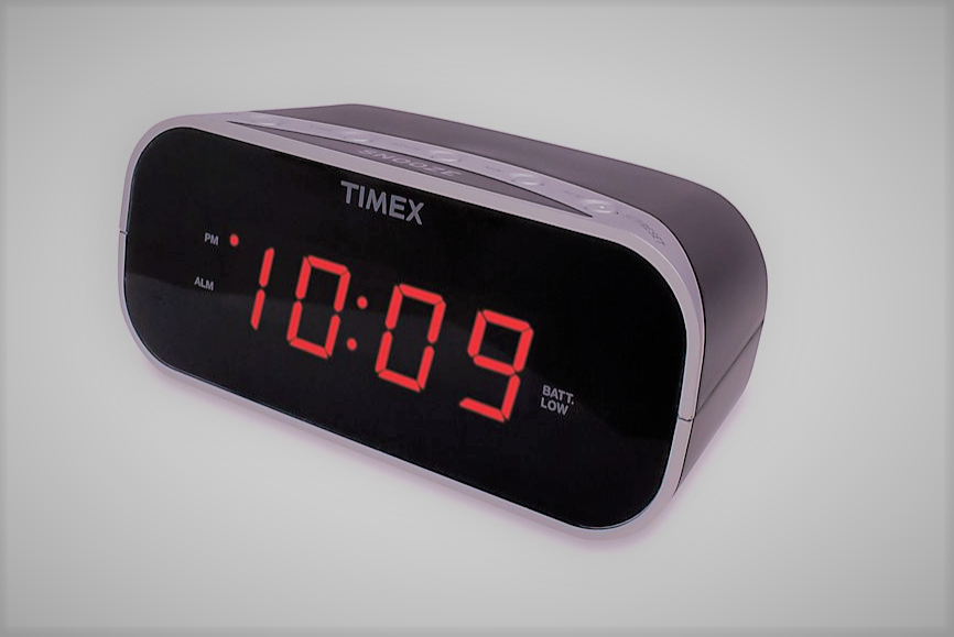 alarm clock with red display in Black