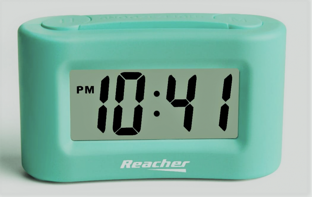 reacher mini battery operated alarm clock